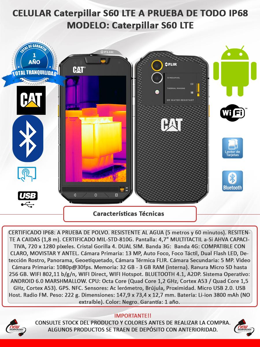 845cc3660ce Celular Cat S60 Resiste Todo 4g Camara Termica 13mp 3gb Ram ...